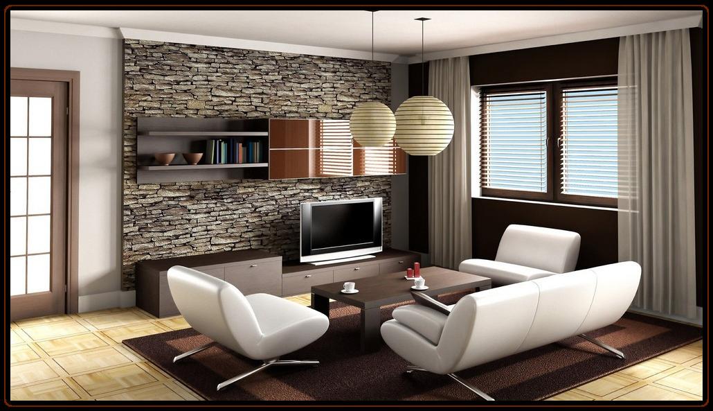 декоративный камень в комнате для отдыха